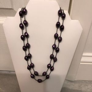 📣HP📣 Double Strand Pearl Necklace Dark Purple